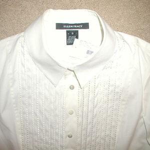 $278 NWT Ellen Tracy tuxedo shirt blouse pleats
